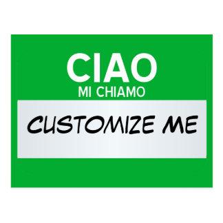 Carte Postale L'Italien bonjour mon nom est… personnalisable
