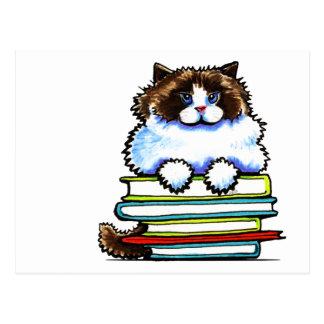 Carte Postale Livres futés de Ragdoll Kitty