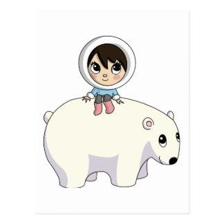 Carte Postale Lizzy et givrer l'ours blanc