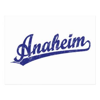 Carte Postale Logo de manuscrit d'Anaheim dans le bleu