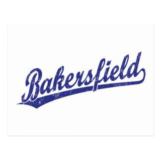Carte Postale Logo de manuscrit de Bakersfield dans le bleu