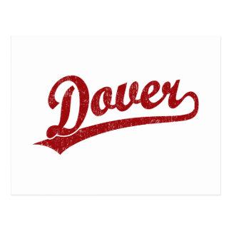 Carte Postale Logo de manuscrit de Douvres en rouge