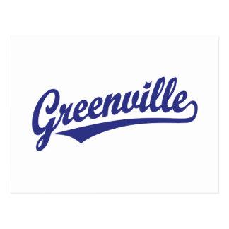 Carte Postale Logo de manuscrit de Greenville dans le bleu