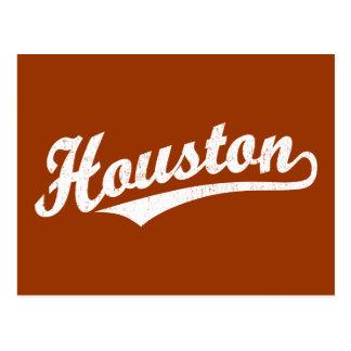 Carte Postale Logo de manuscrit de Houston dans le blanc affligé