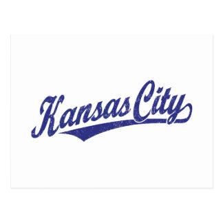 Carte Postale Logo de manuscrit de Kansas City dans le bleu
