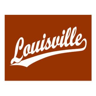 Carte Postale Logo de manuscrit de Louisville dans le blanc
