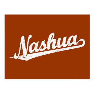 Carte Postale Logo de manuscrit de Nashua dans le blanc affligé
