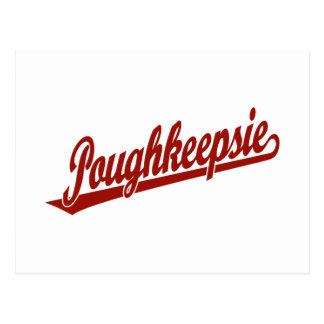 Carte Postale Logo de manuscrit de Poughkeepsie en rouge