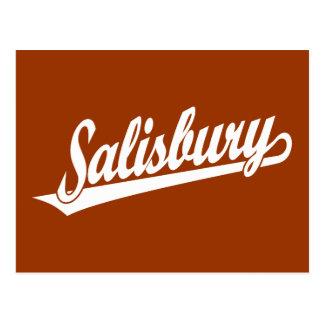 Carte Postale Logo de manuscrit de Salisbury dans le blanc