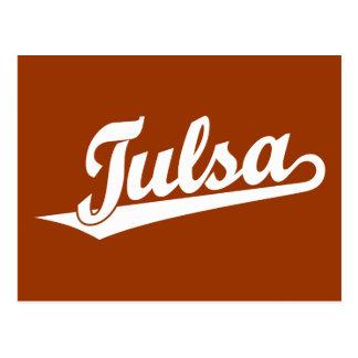 Carte Postale Logo de manuscrit de Tulsa dans le blanc