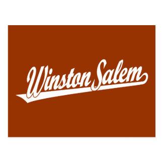 Carte Postale Logo de manuscrit de Winston-Salem dans le blanc
