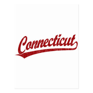 Carte Postale Logo de manuscrit du Connecticut en rouge