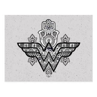 Carte Postale Logo spirituel de Paisley Hamsa de femme de