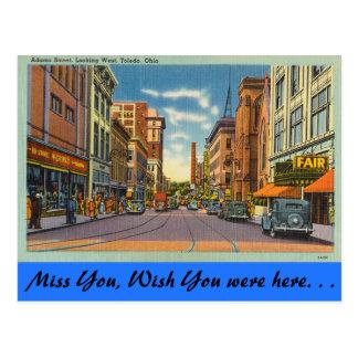 Carte Postale L'Ohio, rue d'Adams, Toledo