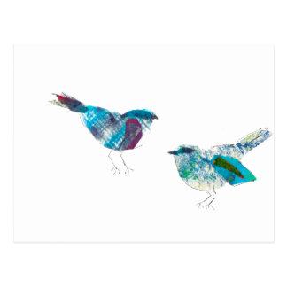 Carte Postale L'oiseau de bleu de gazouillement le plus mignon