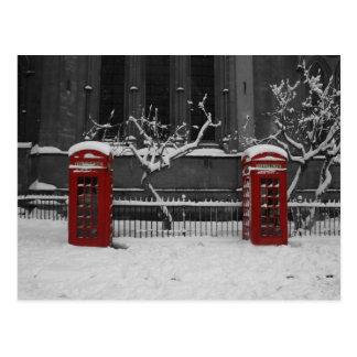 Carte Postale Londres Phoneboxes dans la neige