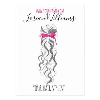 Carte Postale Longs cheveux onduleux avec un marquage à chaud de