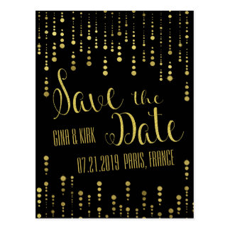 Carte Postale L'or élégant et le noir font gagner la date