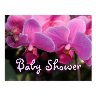 Carte Postale L'orchidée rose fleurit l'invitation de baby