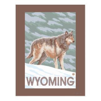 Carte Postale Loup gris StandingWyoming