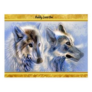 Carte Postale Loups bleus et blancs de glace avec la texture de