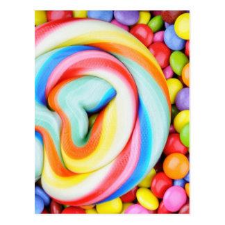 Carte Postale Lucette rayée et je-sais-tout multicolores