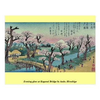 Carte Postale Lueur de soirée au pont de Koganei par Ando,
