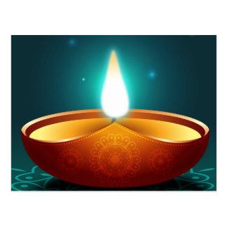 Carte Postale Lueur d'une bougie bleu-foncé de Diwali
