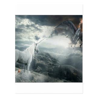 Carte Postale Lumière abstraite de licornes d'imaginaire contre