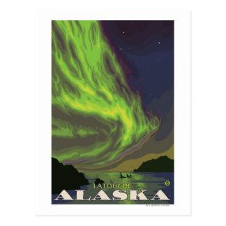 Carte Postale Lumières du nord et orques - Latouche, Alaska