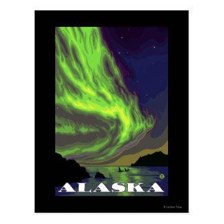 Carte Postale Lumières du nord et voyage vintage d'orques