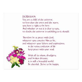 Carte postale lumineuse de bouquet de DESIDERATA