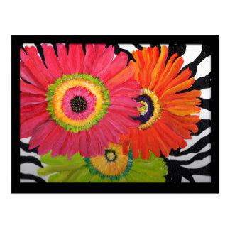 Carte postale lumineuse et colorée de marguerites