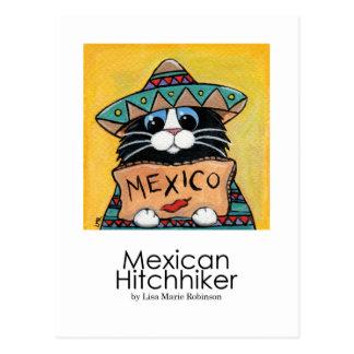 Carte postale lunatique d'art de chat
