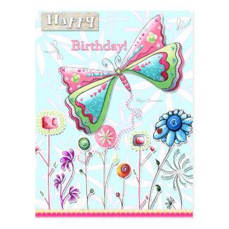 Carte postale lunatique de papillon de joyeux