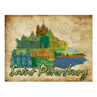 Carte postale lunatique de paysage de monuments de