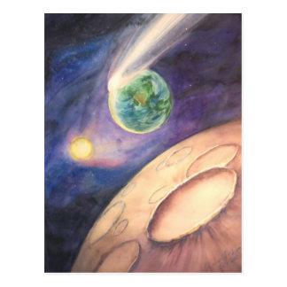 Carte Postale Lune, comète, la terre, Sun