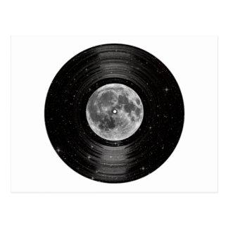 Carte Postale Lune dans le disque de LP de vinyle de l'espace
