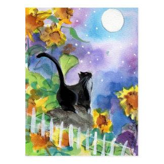Carte Postale Lune de chat de smoking en tournesols