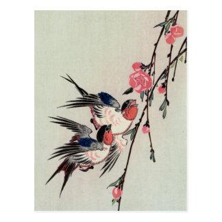 Carte Postale Lune, hirondelles, et fleurs de pêche, Ando