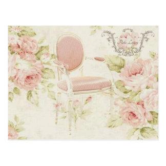 Carte Postale Lustre floral rose vintage de Budoir de Français