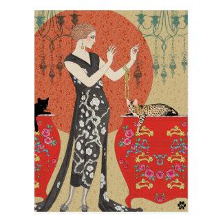 Carte Postale Lydia et le Bengale en rouge et or