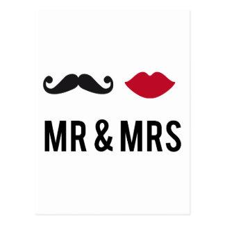 Carte Postale M. et Mme avec la moustache et les lèvres rouges