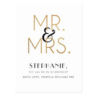 Carte Postale M. et Mme d'or | serez-vous ma demoiselle