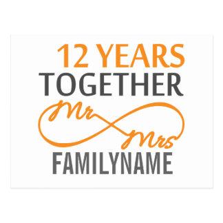 Carte Postale M. et Mme faits sur commande 12ème anniversaire