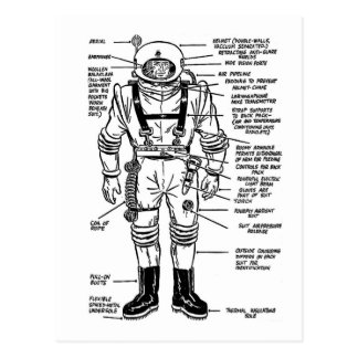 Carte Postale M. vintage Spaceman Astronaut Illustration de