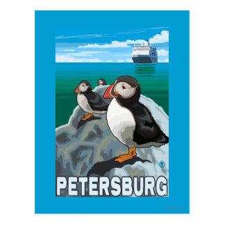 Carte Postale Macareux et bateau de croisière - Pétersbourg,