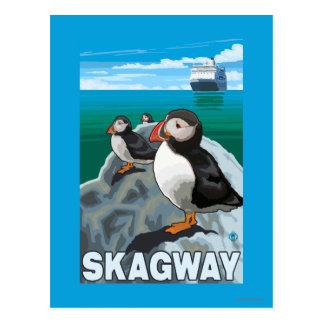 Carte Postale Macareux et bateau de croisière - Skagway, Alaska