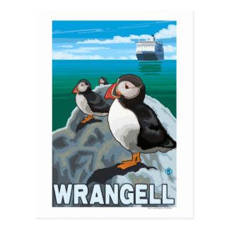 Carte Postale Macareux et bateau de croisière - Wrangell, Alaska