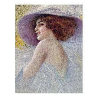Carte Postale Madame à la mode de fantaisie vintage (23)